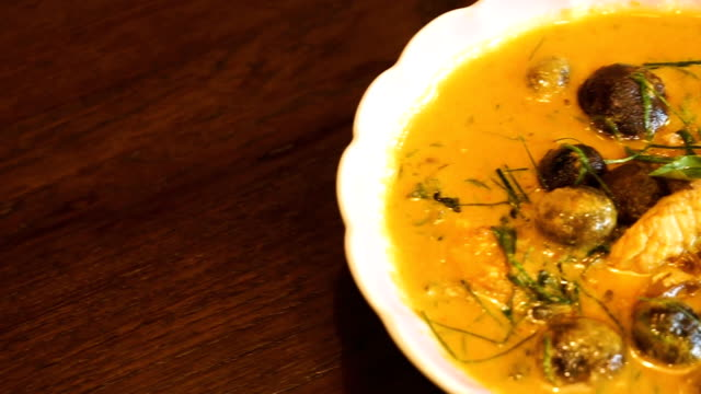 thai curry with mushroom and coconut milk - thai food stock videos and b-roll footage
