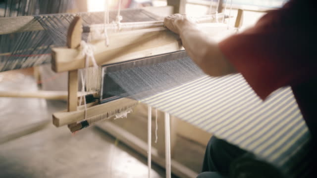 Thai hand weaving cotton video