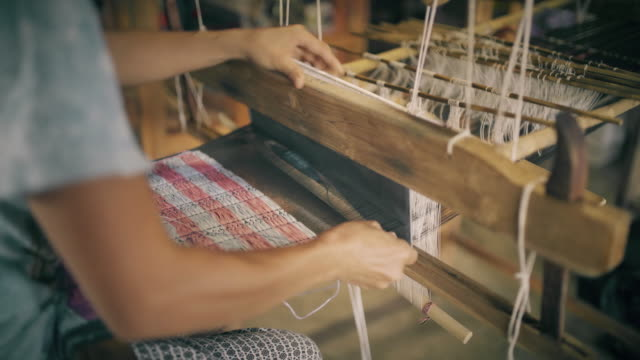 Thai hand weaving cotton video