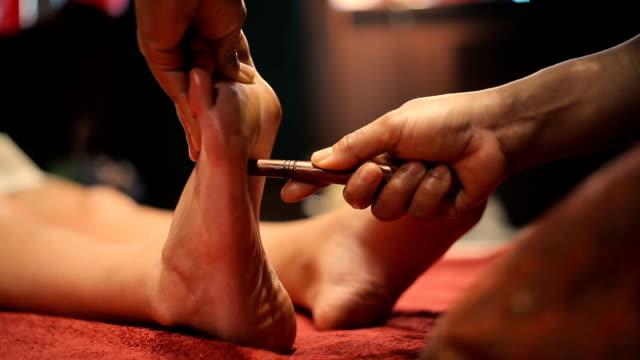 Thai massage of female foot video