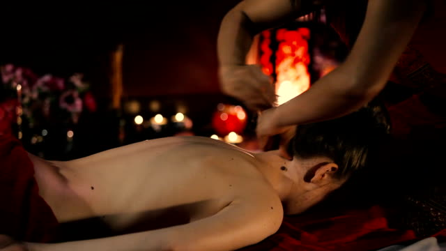 Thai massage of the neck. video
