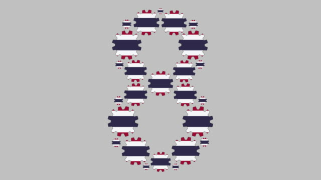 Thai number eight Turning gears with the thai flag shaping the number eight less than 10 seconds stock videos & royalty-free footage