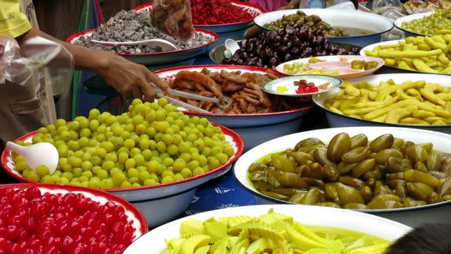 thai zakonserwowane przetwory owocowe - tajska kuchnia filmów i materiałów b-roll