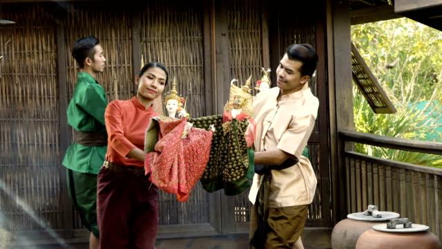thai puppet show - mitologia video stock e b–roll