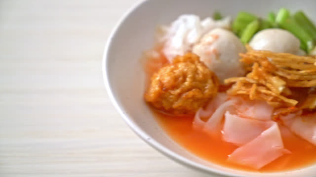 (Yen-Ta-Four) - Thai Style Noodle with assorted tofu and fish ball in Red Soup - Asian food style