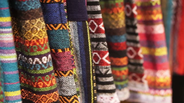 Thai traditional colourful pattern hand woven fabric video