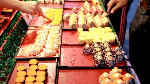 Thai Walking Street Thai Sushi at Night Market video