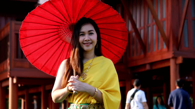 Thai woman dressing with traditional style video