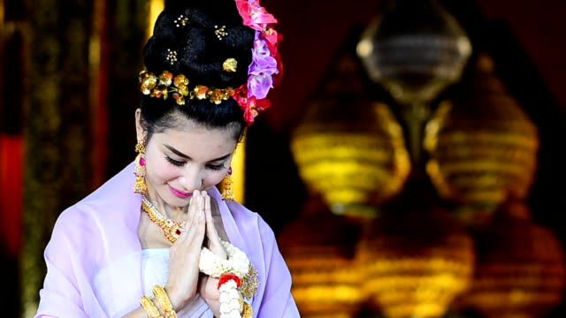 Thai Woman Salute Of Respect In Traditional Costume Of Thailand video