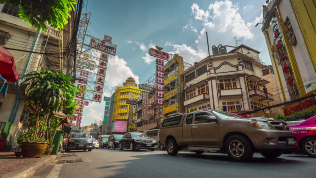 thailand bangkok city traffic jam street road sunny day view 4k time lapse video