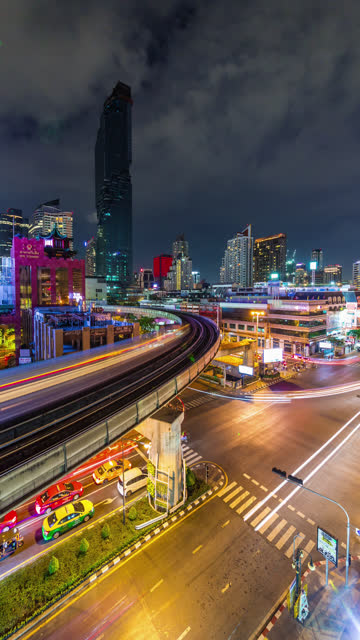 thailand bangkok night light traffic street vertical panorama 4k time lapse - vertical format video stock videos and b-roll footage