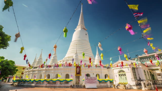 thailand bangkok sunny day famous temple 4k hyper time lapse video