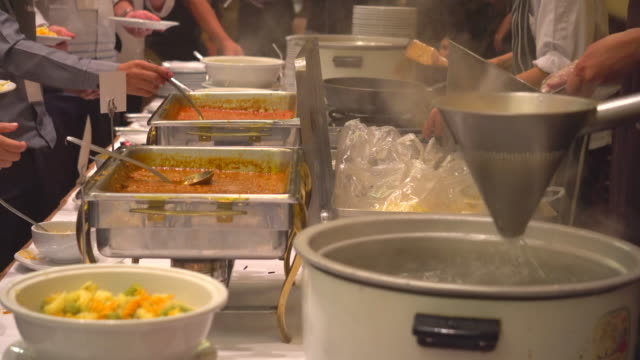 Thailand buffet food People group catering buffet food indoor in the restaurant tray stock videos & royalty-free footage