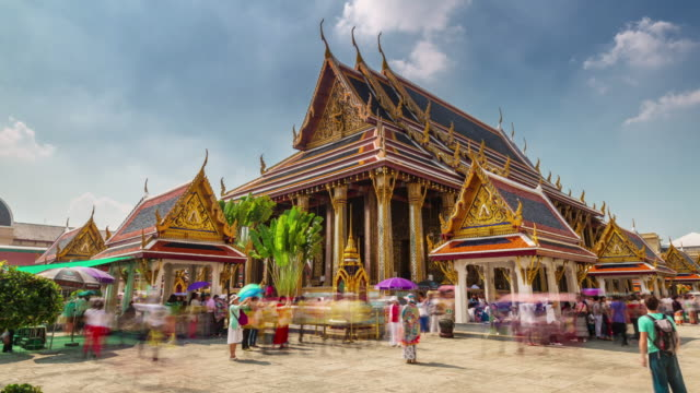thailand day bangkok famous temple of the emerald buddha 4k time lapse video