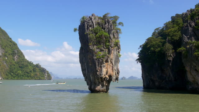 thailand day time popular excursion james bond island panorama 4k video