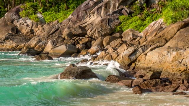 thailand famous freedom beach waves coastline rocky beach view hd phuket video