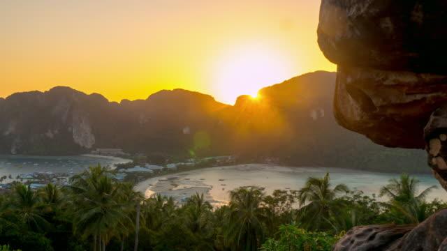 thailand famous ko phi phi island viewpoint sunset panorama 4k time lapse video