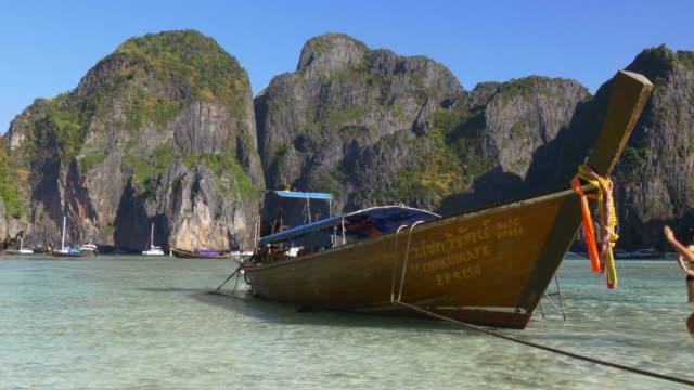 thailand famous koh phi phi beach tourist boat panorama 4k video