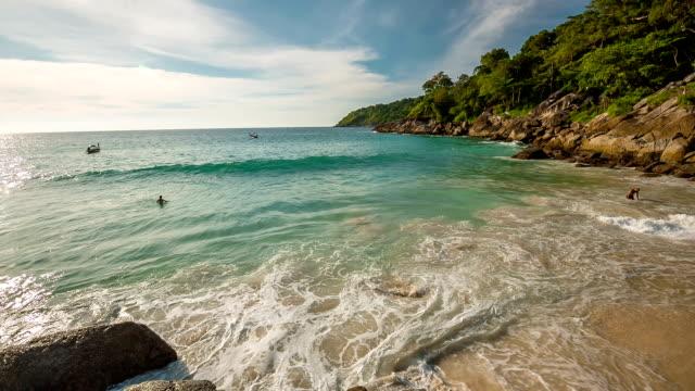 thailand famous phuket island freedom beach panorama hd video
