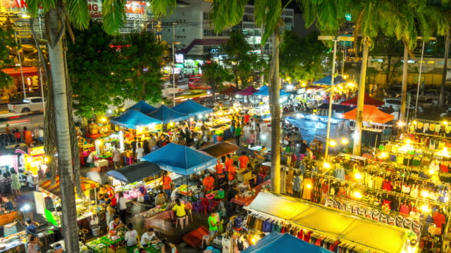 thailand famous phuket island patong tourist night market 4k time lapse - phuket video stock e b–roll
