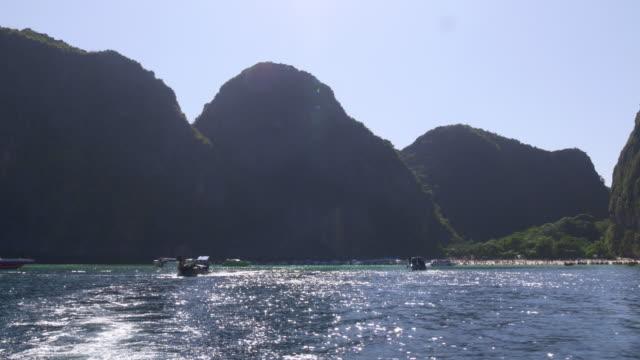 thailand famous summer light koh phi phi don beach ride away panorama 4k video