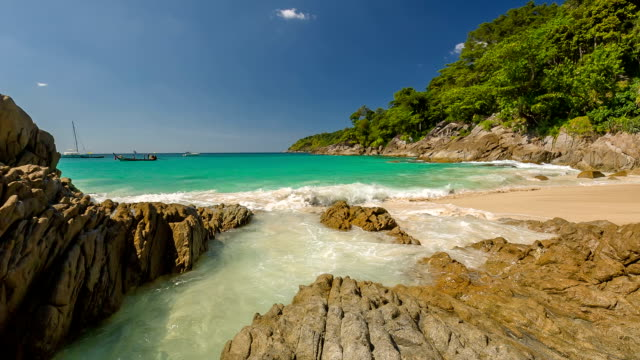 thailand famous summer time private secret freedom beach panorama hd phuket video