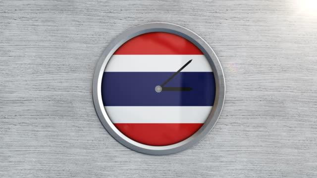 vídeos de stock e filmes b-roll de thailand flag clock timelapse - climate clock