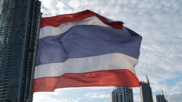 Thailand flag installed on pole