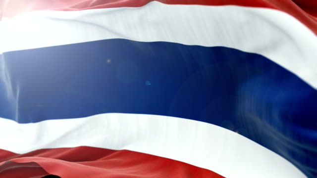 thailand flag slow waving background. 4k close up flag waving. seamless loop - politica e governo video stock e b–roll