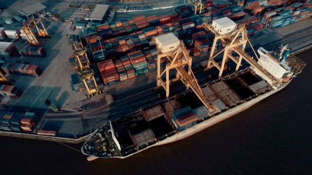 Thailand Industrial port Aerial video