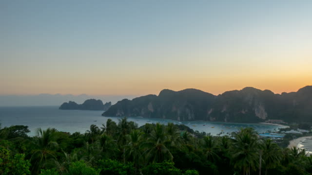 thailand ko phi phi don island famous sunset viewpoint panorama 4k time lapse video