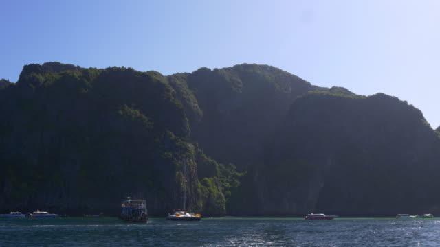 thailand koh phi phi don island beach tourist boat panorama 4k video
