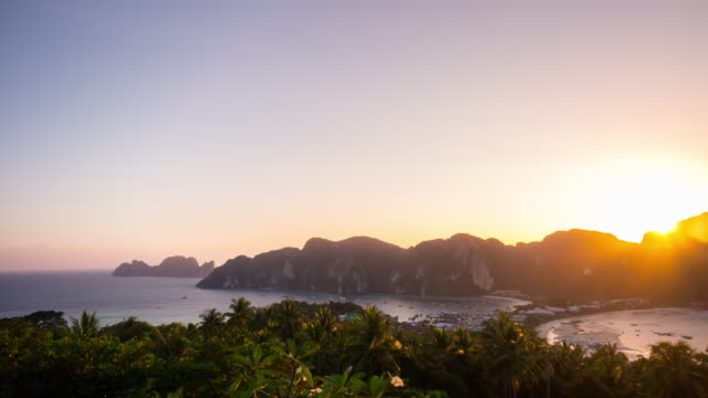 thailand koh phi phi don island view point sunset panorama 4k time lapse video