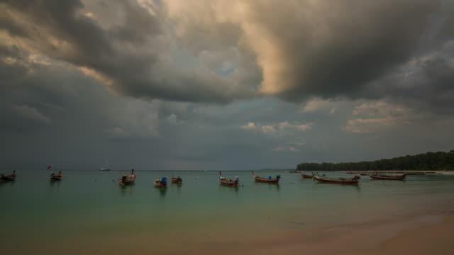 thailand nai yang beach sunset boat park phuket panorama 4k time lapse video