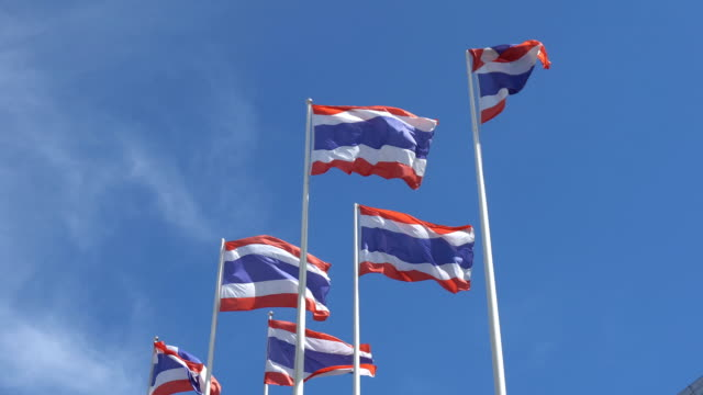 thailand national flag follow the wind with blue sky background. 4k uhd - politica e governo video stock e b–roll