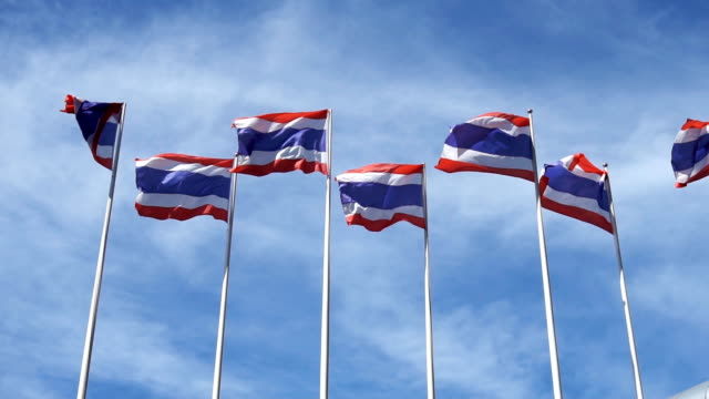 thailand national flag follow the wind with blue sky background. super slow motion 120p. - politica e governo video stock e b–roll