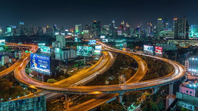thailand night bangkok traffic circle junction road roof panorama 4k time lapse video