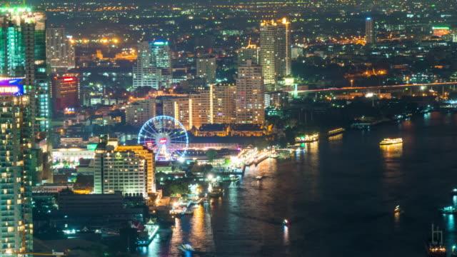 thailand night illumination bangkok river traffic flyer panorama roof top view 4k time lapse video