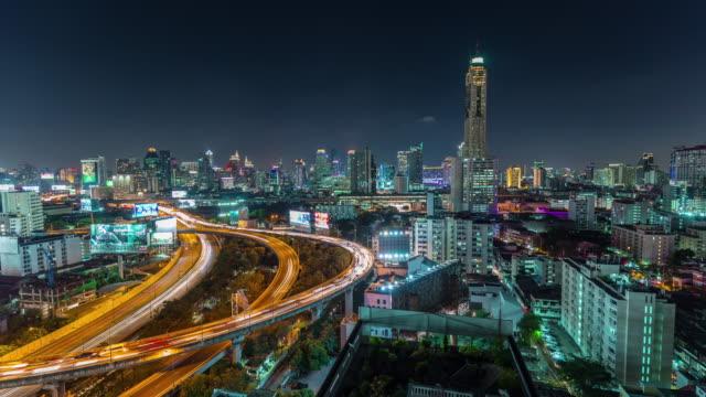 thailand night light bangkok traffic street road panorama 4k time lapse video