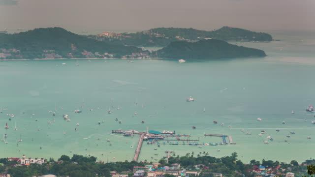 thailand phuket famous port traffic high mountain panorama 4k time lapse video