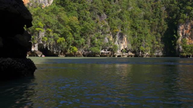 thailand phuket island famous tourist canoe ride excursion panorama 4k video