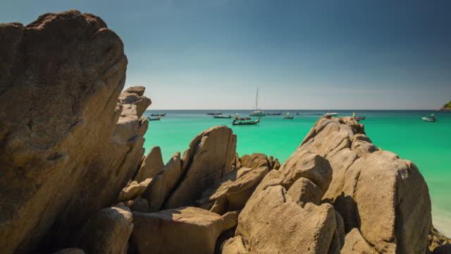 thailand phuket sunny day beach tourist boat panorama 4k time lapse video