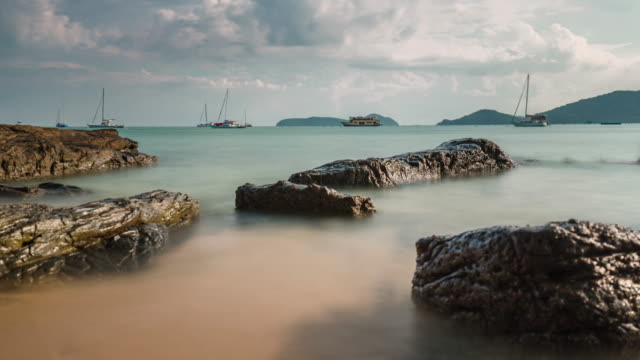 thailand phuket sunny day private boat park beach panorama 4k time lapse video