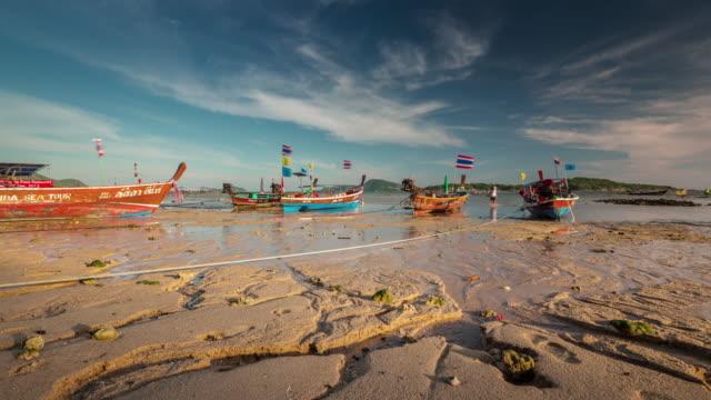 thailand phuket sunset low tide rawai beach boat park 4k time lapse video