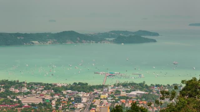 thailand phuket town port side high mountain panorama 4k time lapse video