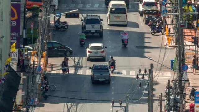 thailand phuket town summer day roof top view traffic street crosswalk hd video