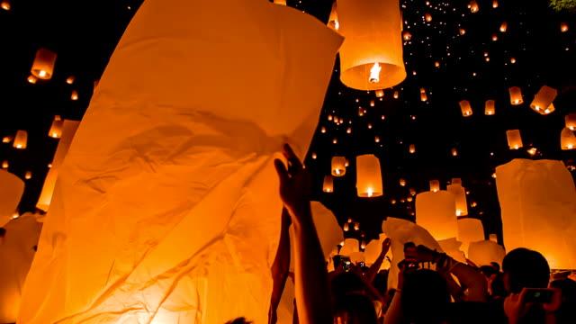 thailand sky lantern traditional festival. - sky lantern stock videos and b-roll footage