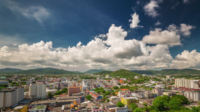 thailand summer cloudy day phuket patong hotel roof panorama 4k time lapse video