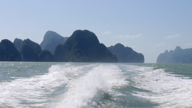 thailand summer day famous islands speed boat backside panorama 4k video
