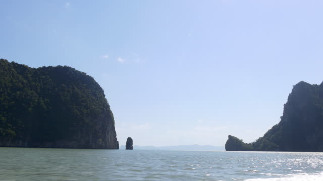 thailand summer day famous islands speed boat ride panorama 4k video